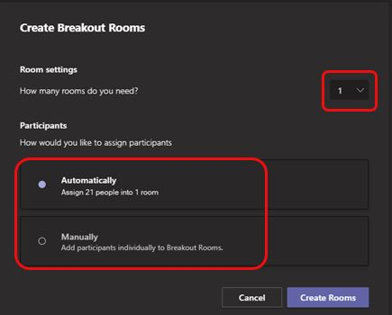 Create breakout rooms automatically or manually