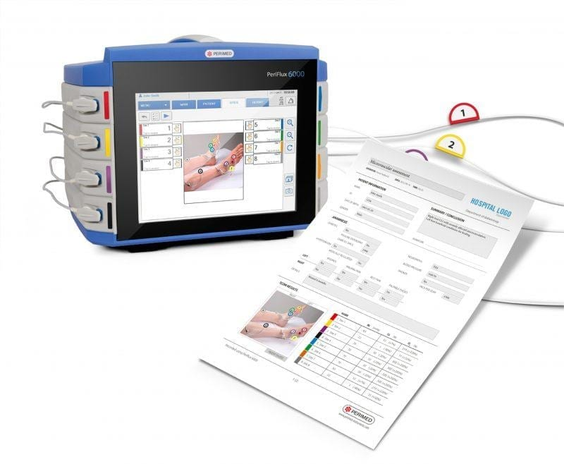 A print medical report generated by a touch screen device