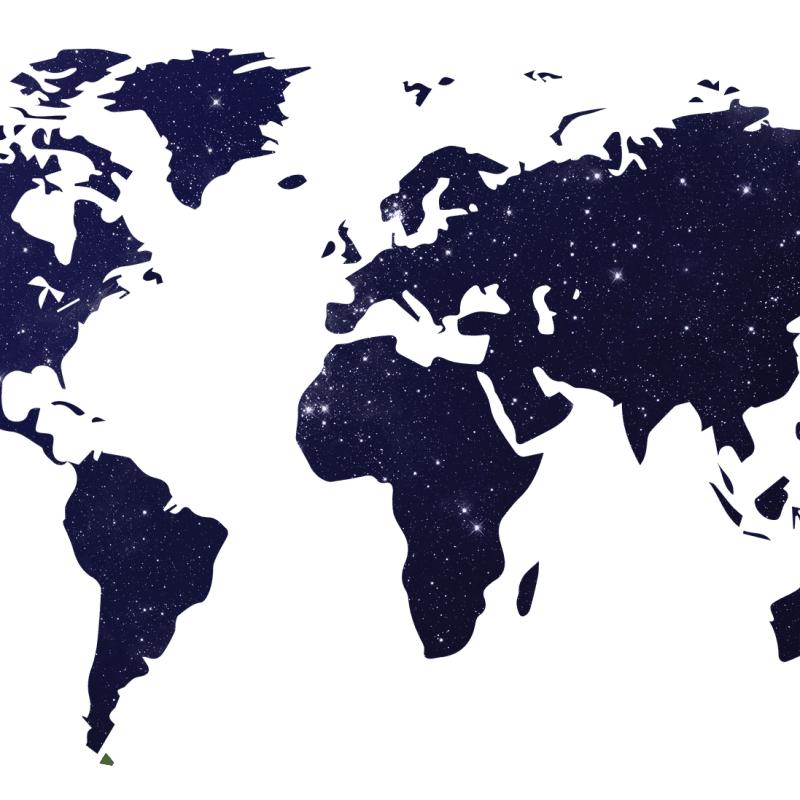 A map image featuring stars in the night sky