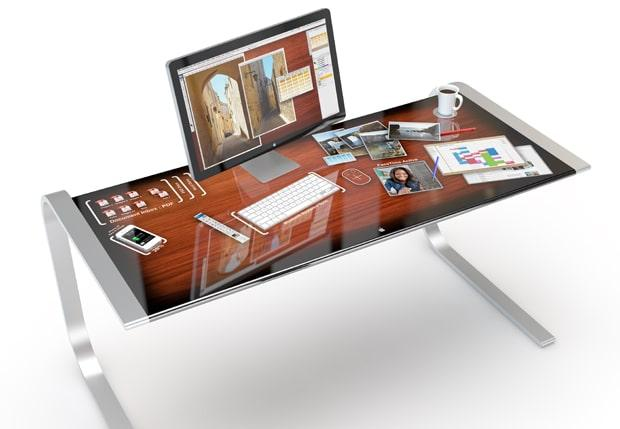 Touch screen technology integrated into an office desk
