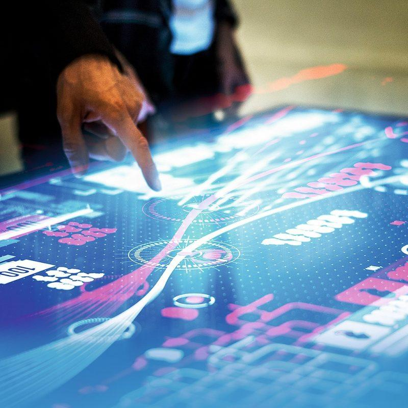 touch screen table used in professional meeting