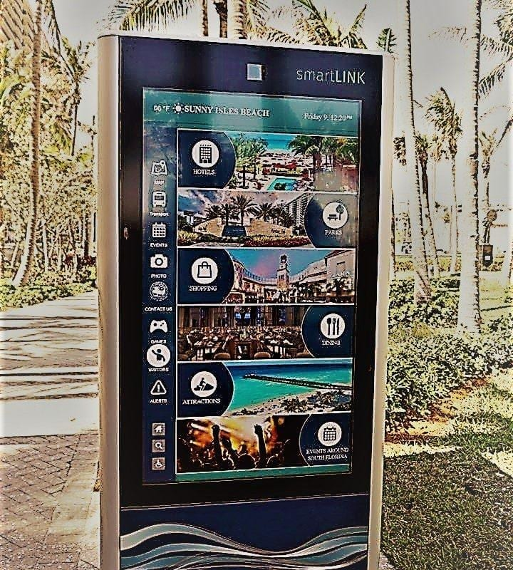 touchscreen system for local area information at Sunny Isles Beach