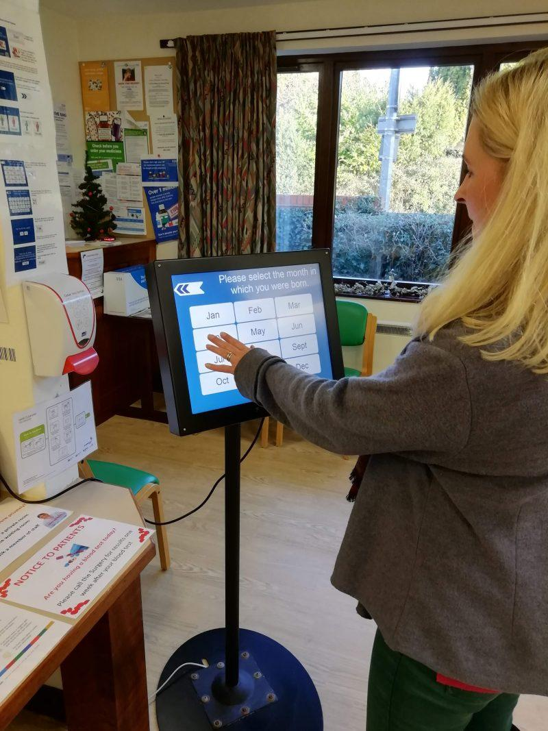 check in screen at a doctors surgery featuring Zytronic touch sensors